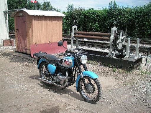 2010 - More heritage at Williton with a 1960 BSA motorcycle, a GWR lamp hut and an old metal roller, seen on 29 July. This work is licenced under a Creative Commons Licence. © Steve Johns