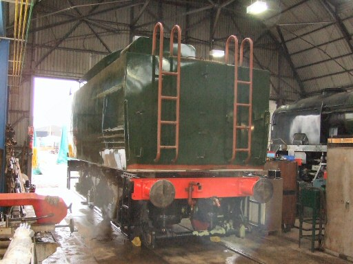 2010 - Notable progress is being made with the tender for SR 4-6-2 No. 34046 Braunton the tank currently rests on blocks to enable the underside to be painted before bolting in place on 29 December. This work is licenced under a Creative Commons Licence. © Ray Waldron