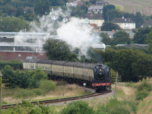 2010 - SDJR 2-8-0 No. 88 leaving Williton and making for Doniford Halt on 18 August. This work is licenced under a Creative Commons Licence. © Don Fraser
