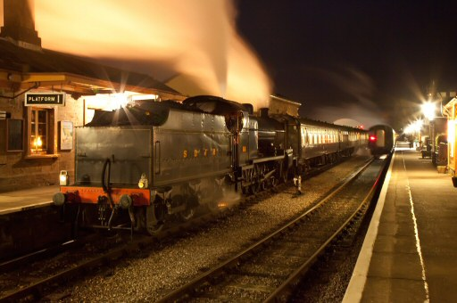 2010 - SDJR 2-8-0 No. 88 now waits at Williton to head the return Bishops Lydeard Carol Train on the evening of 14 December. This work is licenced under a Creative Commons Licence. © Mike Dunse