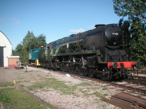 2010 - SR West Country Class 4-6-2 No. 34046 Braunton is shunted at Williton on 16 October. This work is licenced under a Creative Commons Licence. © Steve Johns