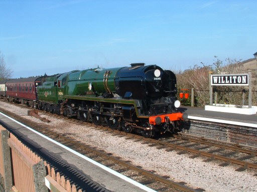 2010 - SR West Country Class 4-6-2 No. 34046 Braunton waits with a up ECS working at Williton on 13 March. This work is licenced under a Creative Commons Licence. © Terry Deacon