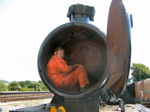 2010 - Showing great dedication, here is Ryan working to remove the chimney on GWR 2-6-2T No. 4561 on his 21st birthday. July 2010. This work is licenced under a Creative Commons Licence. © Ray Waldron