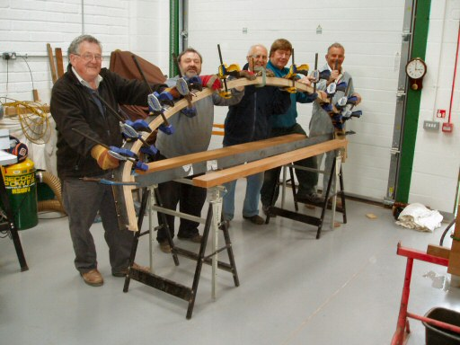 2010 - Steam bending of new laminated roof hoops for Auto Trailer No. 169 at the 169 Wood Workshop, Williton on 8 May. This work is licenced under a Creative Commons Licence. © Brian Hart