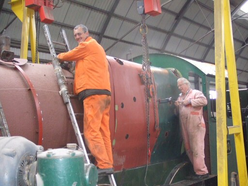 2010 - Trial fitting the boiler cladding on GWR 4-6-0 No. 6960 Raveningham Hall at West Somerset Restoration, Williton on 1 June. This work is licenced under a Creative Commons Licence. © Ray Waldron