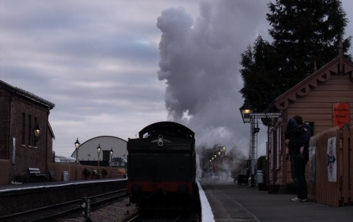 2010 - WSR 2-6-0 No. 9351 at Williton as dusk falls on 13 March. This work is licenced under a Creative Commons Licence. © Bradley Cottrell