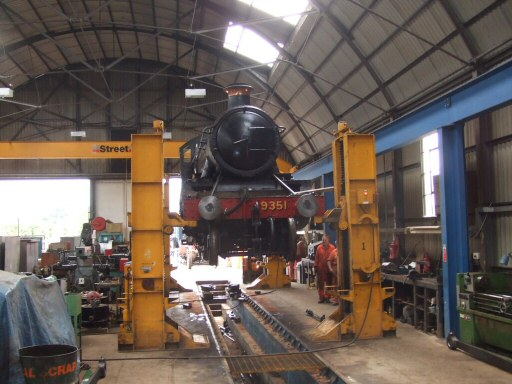 2010 - WSR 2-6-0 No. 9351 up in the air at Williton during work on a damaged axle bearing - seen here on 17 August. This work is licenced under a Creative Commons Licence. © Ray Waldron