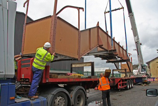 2010 - Williton Footbridge - final adjustments before lowering on to the low loader on 14 July. This work is licenced under a Creative Commons Licence. © Martin Hope