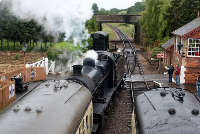 2011 - A new viewpoint showing SDJR 2-8-0 No. 88 leaving Williton on 30 May. Picture taken from the footbridge with special consent of the project manager. The footbridge is not yet available for public use. This work is licenced under a Creative Commons Licence. © John Hallett