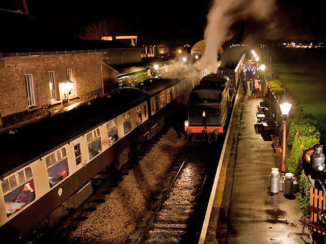 2011 - All change at Williton Station on 13 December as the two Carol Trains meet. This work is licenced under a Creative Commons Licence. ©Mike Dunse
