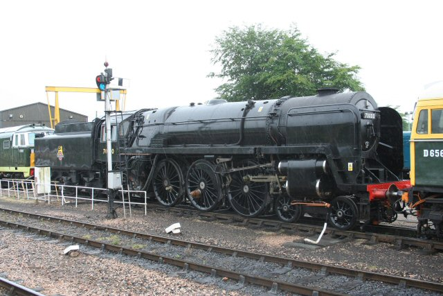 2011 - BR 4-6-2 No.70000 Britannia awaiting repairs at Williton on 17 June. This work is licenced under a Creative Commons Licence. © Peter Nicholson