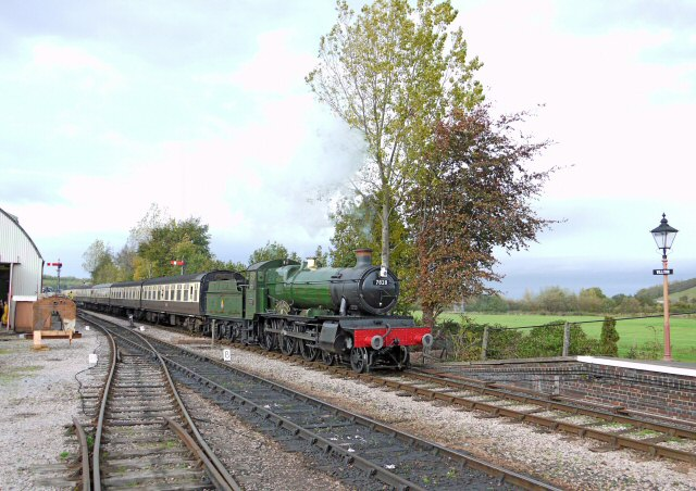 2011 - BR(W) 4-6-0 No. 7828 Norton Manor brings an Up train into Williton on 29 October. This work is licenced under a Creative Commons Licence. ©Bradley Cottrell