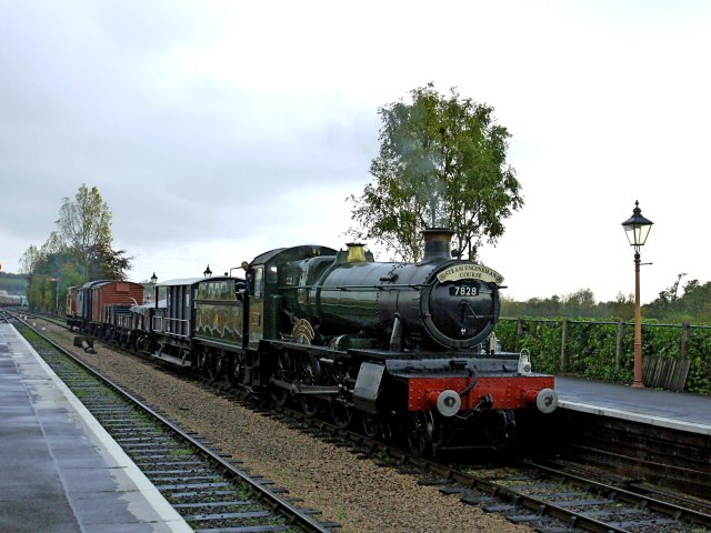 2011 - BR(W) 4-6-0 No. 7828 - Norton Manor with a Steam Engineman special at Williton on a rainy 4 November. This work is licenced under a Creative Commons Licence. ©Bradley Cottrell
