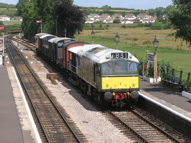 2011 - Class 25 No. D7523 arrives at Williton with the goods for Norton on 5 August. This work is licenced under a Creative Commons Licence. © Martin Southwood