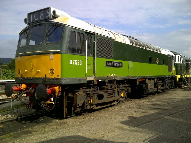 2011 - Class 25 No. D7523 outside Williton Diesel Depot on 21 July1 after the facing side was polished by the photographer. This work is licenced under a Creative Commons Licence. © Brad Cottrell