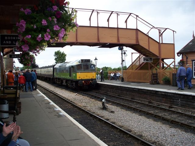 2011 - Class 25 No. D7523 about to leave Williton during the official opening of the footbridge on 16 July. This work is licenced under a Creative Commons Licence. © Jon Tooke