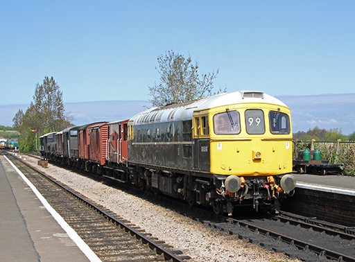 2011 - Class 33 No. D6566 on a Diesel Experience Course Train at Williton on 16 April. This work is licenced under a Creative Commons Licence. © Martin Hope