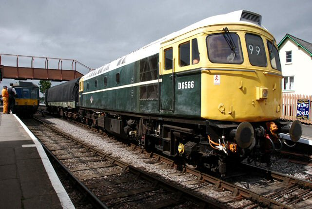 2011 - Class 33 No. D6566 leaving Williton towing a DMU power car and bound for Bishops Lydeard on 25 June. This work is licenced under a Creative Commons Licence. © Bev Zehetmeier