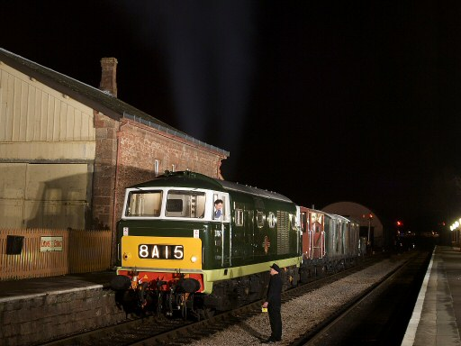2011 - Class 35 Hymek No. D7017 (renumbered D7047 for the occasion) at Williton Station during an evening photoshoot on 2 January. This work is licenced under a Creative Commons Licence. © David Williams
