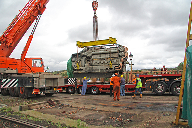 2011 - Class 47 Diesel engine being lowered ready for transportation at Williton on 20 September. This work is licenced under a Creative Commons Licence. ©Martin Hope