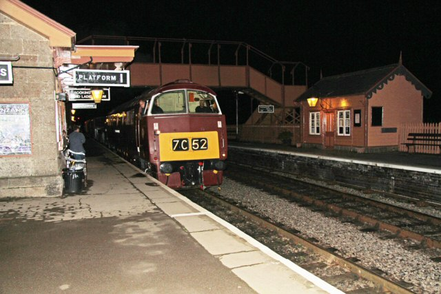 2011 - Class 52 No. D1010 Western Campaigner at Williton on 12 November 2011 prior to leaving for a photoshoot at Crowcombe Heathfield. No.D1010 was renumbered D1035 and renamed Western Yeoman for the Mixed Traction Weekend. This work is licenced under a Creative Commons Licence. ©Martin Hope