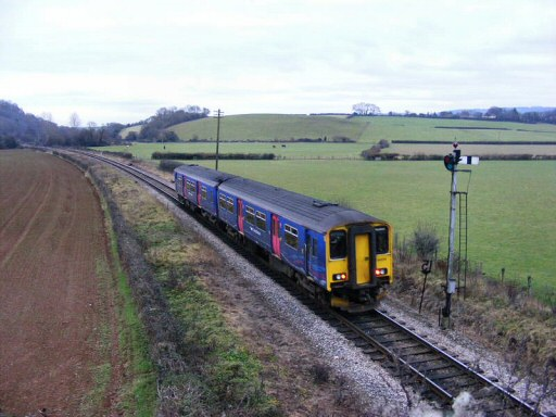 2011 - FGW class 150 DMU No. 150234 with the returning Anniversary Special to Taunton leaving Williton on 2 January. This work is licenced under a Creative Commons Licence. © Mike Ware