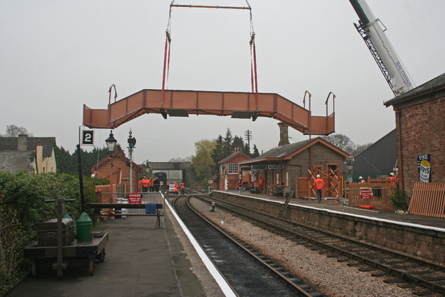 2011 - Footbridge being lowered slowly on 16 March. This work is licenced under a Creative Commons Licence. ©Steve Kirby