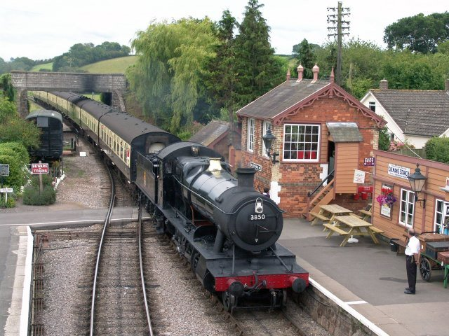 2011 - GWR 2-8-0 No. 3850 pulls into Williton Station on 24 July. This work is licenced under a Creative Commons Licence. © Tim Cowen