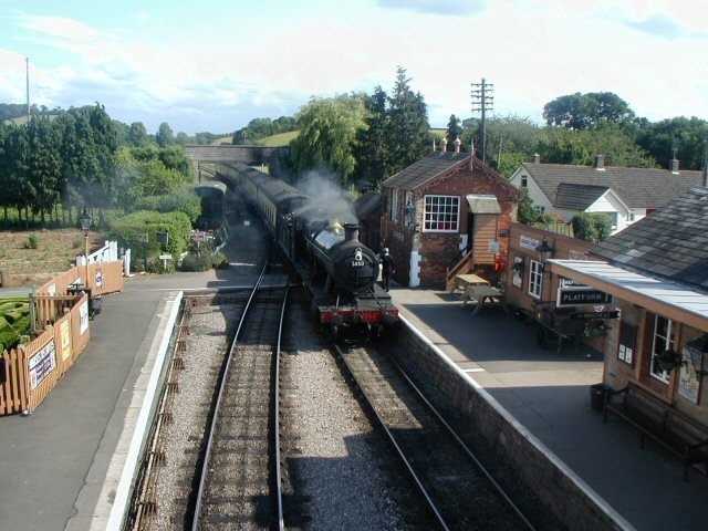2011 - GWR 2-8-0 No. 3850 arriving at Williton Station on 16 June. Taken from the footbridge with permission. This work is licenced under a Creative Commons Licence. © Chris Osment