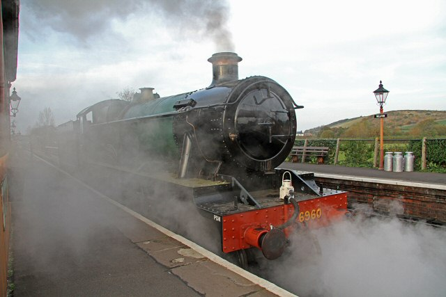 2011 - GWR 4-6-0 No. 6960 Raveningham Hall at Williton prior to leaving light engine to Minehead on 13 November. This work is licenced under a Creative Commons Licence. ©Martin Hope