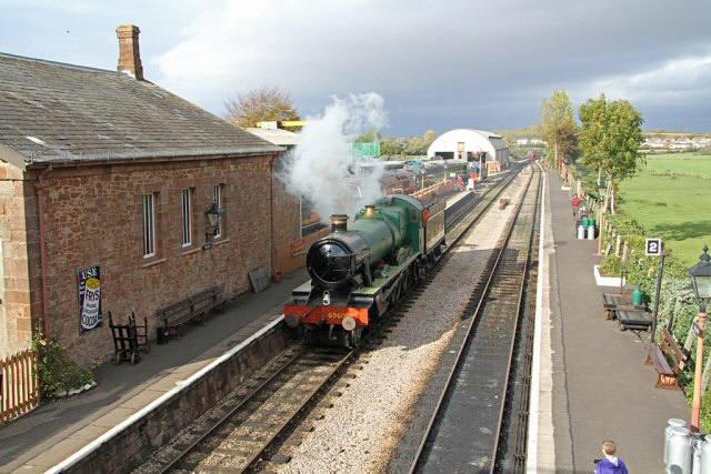 2011 - GWR 4-6-0 No. 6960 Raveningham Hall enjoying a run on the main WSR rails at Williton on 29 October. This work is licenced under a Creative Commons Licence. ©Martin Hope
