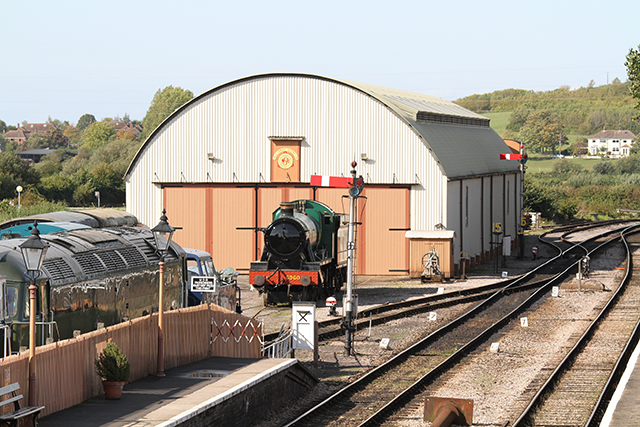2011 - GWR No. 6960 Raveningham Hall on static dislpay outside the Swindon Shed, Williton on 25 September. This work is licenced under a Creative Commons Licence. ©Martin Hope