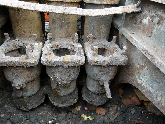 2011 - Genuine GWR water tower engineering components revealed during excavations at Williton on 11 October. This work is licenced under a Creative Commons Licence. ©Beverley Zehetmeier