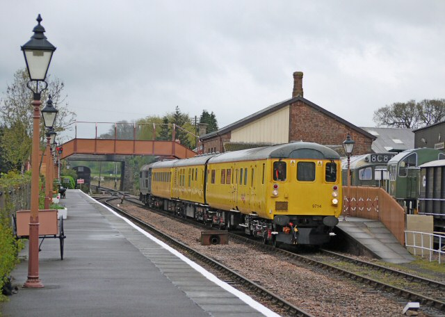 2011 - No. 9714 driving trailer with Class 31 No. 301106 at the rear with the Network Rail Ultrasonic Test train at Williton on the evening of 13 April. This work is licenced under a Creative Commons Licence. © Bradley Cottrell
