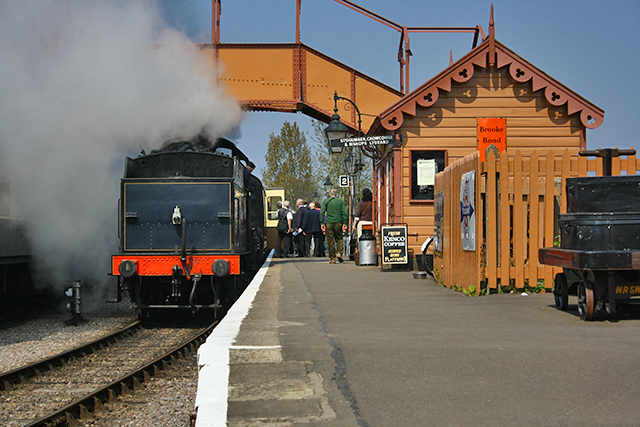 2011 - S&DJR 2-8-0 No.88 about to leave Williton with a party of potential new volunteers who had spent an hour visiting the signal box, the DEPG shed and West Somerset Steam Restoration in the Swindon Shed on 17 April. This work is licenced under a Creative Commons Licence. © Beverley Zehetmeier