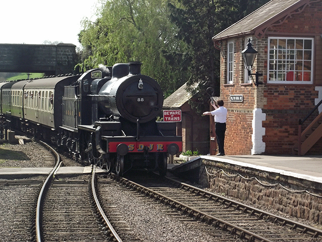 2011 - S&DJR 2-8-0 No.88 approaching Williton Station on 9 April. This work is licenced under a Creative Commons Licence. ©Matthew Axeford