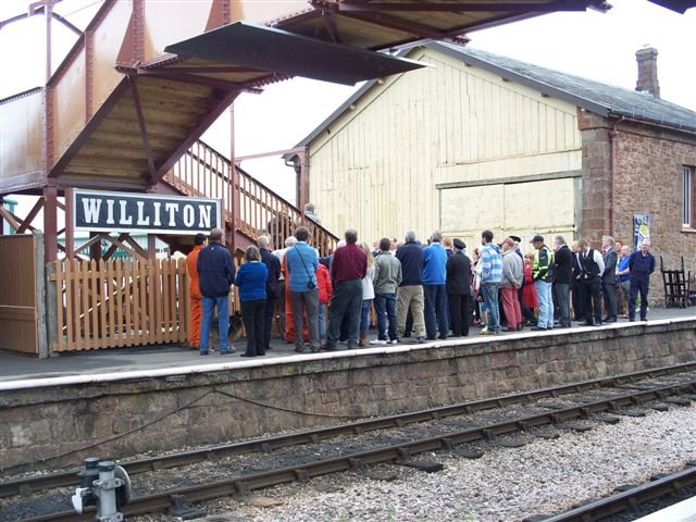 2011 - Williton Station Footbridge Official Opening - The crowds gather on the down platform on 16 July. This work is licenced under a Creative Commons Licence. © Jon Tooke