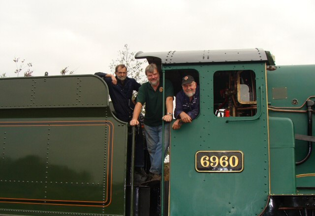 2011 - The footplate crew during the test runs of GWR 4-6-0 No .6960 Raveningham Hall at Williton North Yard on 15 October. This work is licenced under a Creative Commons Licence. ©Ray Waldron
