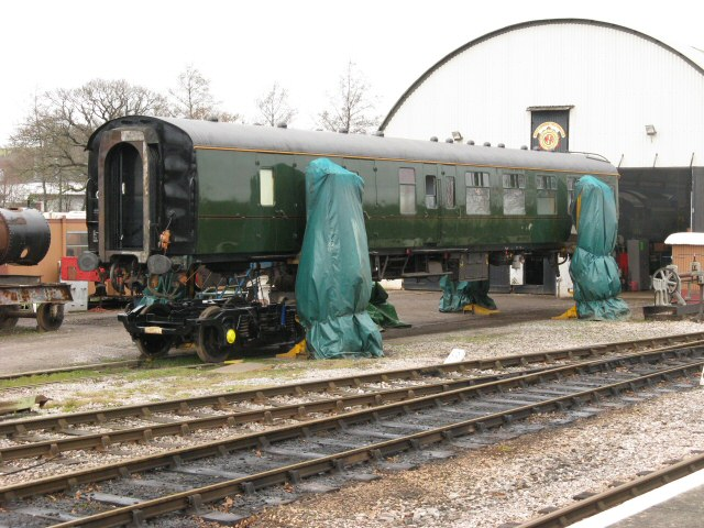 2011 - The support coach for SR 4-6-2 No. 34046 Braunton high and dry at Williton on 5 February. This work is licenced under a Creative Commons Licence. © Mike Collins