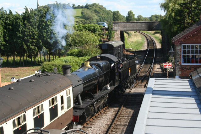 2011 - Viewed from the new footbridge GWR 2-8-0 No. 3850 sets off from Williton with an up train on 23 July. This work is licenced under a Creative Commons Licence. © Peter Nicholson