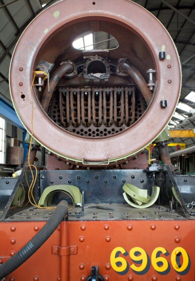 2020 - Looking into the smokebox of GWR 4-6-0 No. 6960 Raveningham Hall at Williton on 24 July with heavy overhaul nearing completion. This work is licenced under a Creative Commons Licence. © Mike Dunse