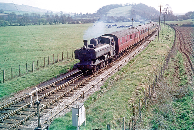 1961 - Ex GWR Class 5700 0-6-0PT No.9757 approaching Williton in March. ©Ian Bennett on behalf of M E J Deane.