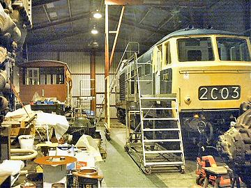 2005 - Hymek No. D7017 is receiving attention to ascertain the water ingress problem to the Maybach MD870 power unit - pictured on 30 January. This work is licenced under a Creative Commons Licence. © Jon Tooke