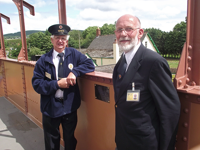 2011 - Williton Station Footbridge Official Opening - Two proud men - John Byfield and John Parsons stand by the plaque in memory of Chris van den Arden on 16 July 2011. This work is licenced under a Creative Commons Licence. ©Matthew Axeford