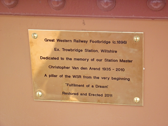 2011 - Williton Station Footbridge Official Opening - Plaque on the centre of the footbridge - the words say it all. This work is licenced under a Creative Commons Licence. ©Matthew Axeford