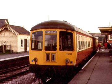 1976 - Park Royal 2 car DMU at Williton. This work is licenced under a Creative Commons Licence. © Nick Jones