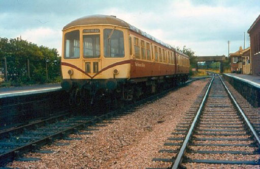 Park Royal DMU at Williton in original WSR livery of maroon and cream with maroon whiskers, c1982. ©Trainweb (Roger Viggers)