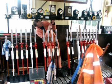 2005 - Pat Langan working on the electrics in Williton Signal Box on 25 January. This work is licenced under a Creative Commons Licence. © Peter Darke