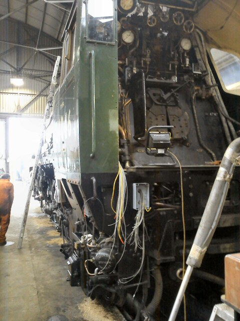 2011 - Some of the extensive electrical wiring being fitted to SR 4-6-2 no 34046 Braunton in connection with TPWS and OTMR seen on 27 January. This work is licenced under a Creative Commons Licence. © Nigel Adams
