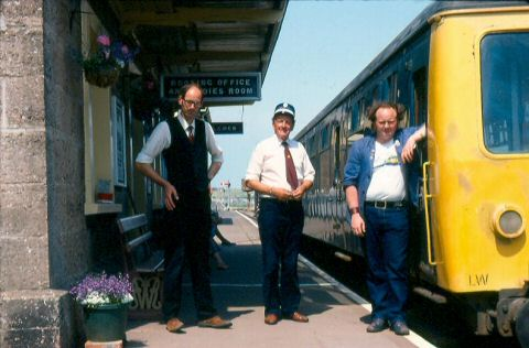 The Cravens at Williton in the 1980s. Signalman Peter Jackson on the left and Driver John Reed on the right. This work is licenced under a Creative Commons Licence. © Robin White